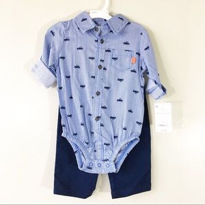 NWT Carter's Pinstripe Truck Print Two Piece